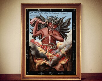 """Occult art, """"The Prince of Darkness"""" by Dagol, ccult print, rustic home decor, lucifer print, demon poster 198"""