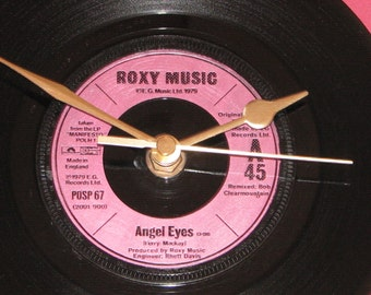 "Roxy Music angel eyes  7"" vinyl record clock"