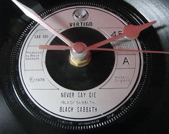 "Black Sabbath never say die  7"" vinyl record clock"