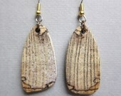 Spalted Hackberry Earrings drop Exotic Wood  Handcrafted by ExoticWoodJewelryAnd Hypoallergenic wires