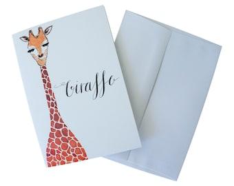 Watercolor Giraffe Blank Greeting Card