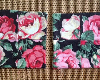 Rose Floral on black. XL Mug Rug, set of 2. Reversible.