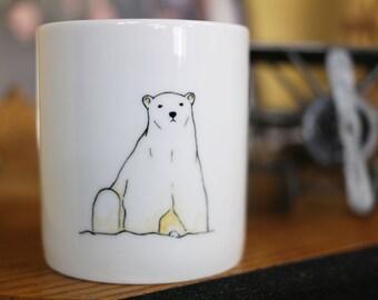 Hand painted animal mug cup - Cute mug cup -Polar Bear mug cup