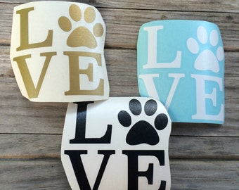 Dog Love Paw Print Decal, Vinyl Stickers, Laptop Decal, Car Sticker, Vinyl Design, Window Sticker, Wall Sticker, Wall Decal