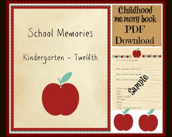 PDF - Instant Download - School Memory Book PRINTABLE - K-12 - Gift log (Birthday's & Christmas) - First day of school interviews