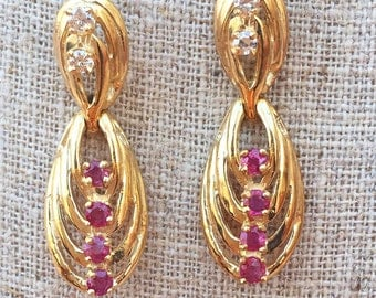 New Vintage Ruby And Diamond Earrings: Sapphire version available.