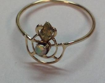 Vintage Art Nouveau Firey Opal Ring in 10k Multi Color Gold