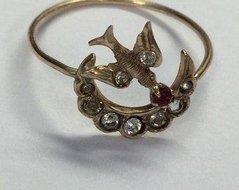 Antique Art Nouveau 10k Yellow Gold Sparrow Bird Moon Ring