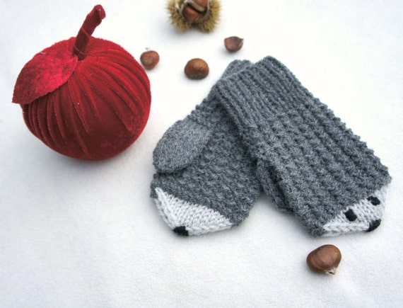 Frugal Christmas Stocking Stuffers - Wool hedgehog mittens, Knit wool gloves, Winter baby mittens, grey mittens, Christmas gift