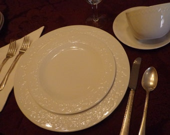 White Embossed China Set, Service for 4 White Embossed Dishes, White on White Style Dinnerware, White China