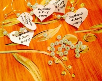 Bride & Groom/Wedding Date Wine Charms!! Mint green, Robbins Egg wedding favors, bridal shower, birthday favors, party favors