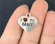20pcs of Antique Tibetan silver I Love to dance heart charms pendants  18x18mm