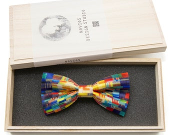 Colorful Brush Print Bowtie - Modern Boys Bowtie, Toddler Bowtie Toddler Bow tie, Groomsmen bow tie, Pre Tied and AdjustableNovioshk, H0273
