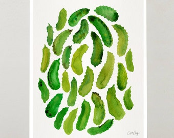 "Pickles – Signed Watercolor Painting Art Print by CatCoq. Artwork Printed on 8.5""x11"" High-Quality Archival Epson Paper & Fits 8""x10"" Frame"