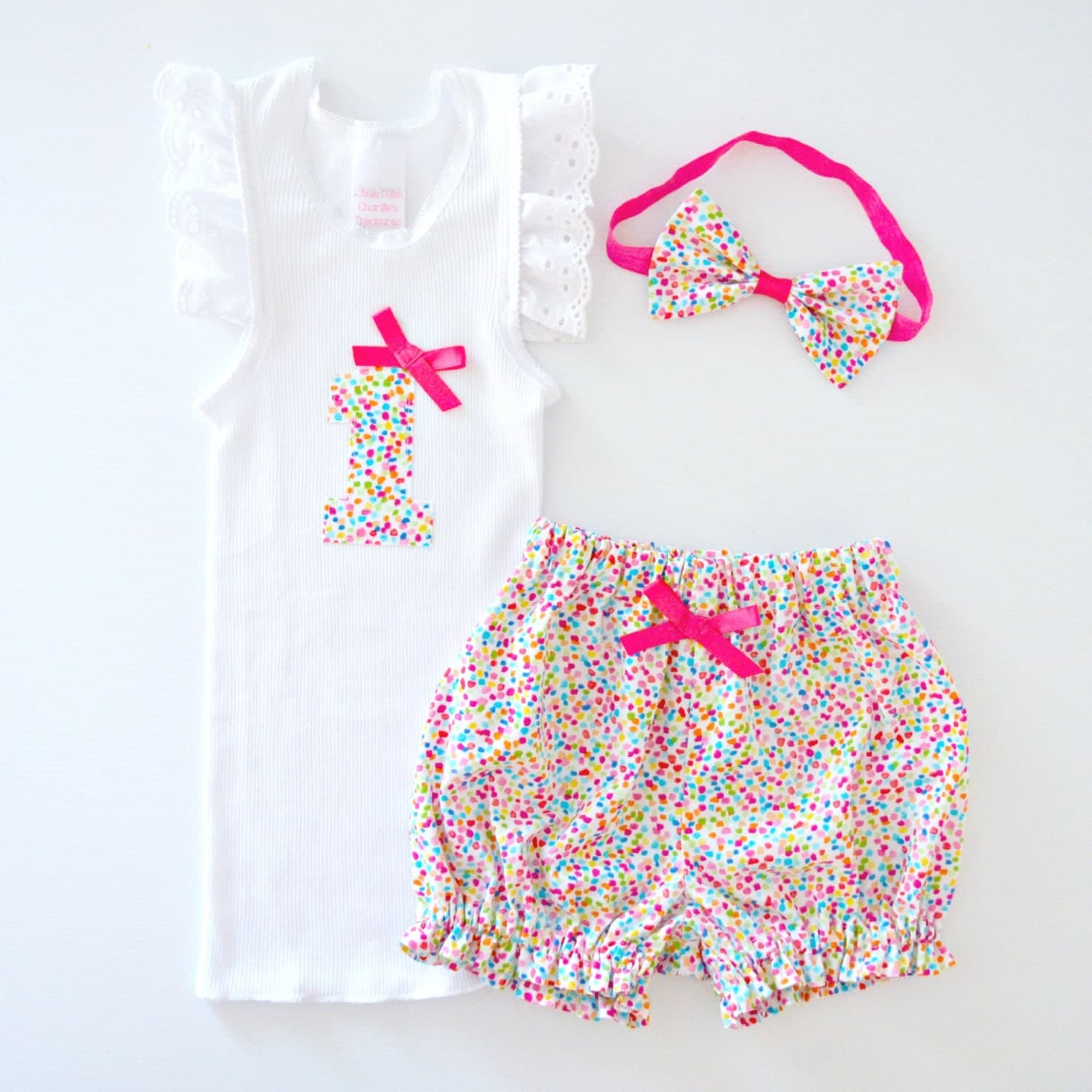 Baby Girl 1st Birthday Outfit Rainbow Confetti Sprinkles