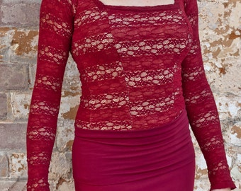 Burgundy lace ZOE Top