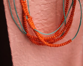 Air - Waxed Linen Necklace or Bracelet Wrap