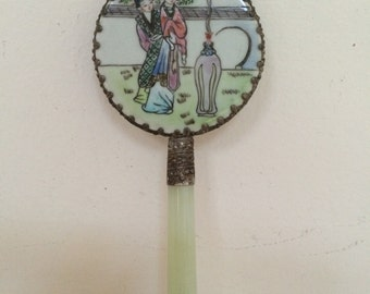 Small Asian Hand Mirror with Jade Handle