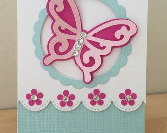 Handmade butterfly thank you card / blank greetings card