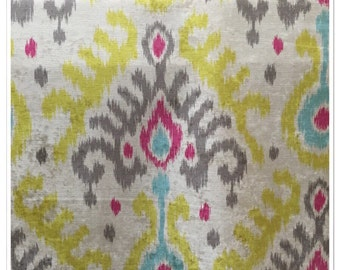 Aqua and Pink Ikat - Moonstone Ikat Fabric - Upholstery Fabric By The Yard -