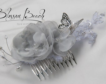 Soft grey and white bridal hair comb;floral and lace hair comb;wedding hair comb