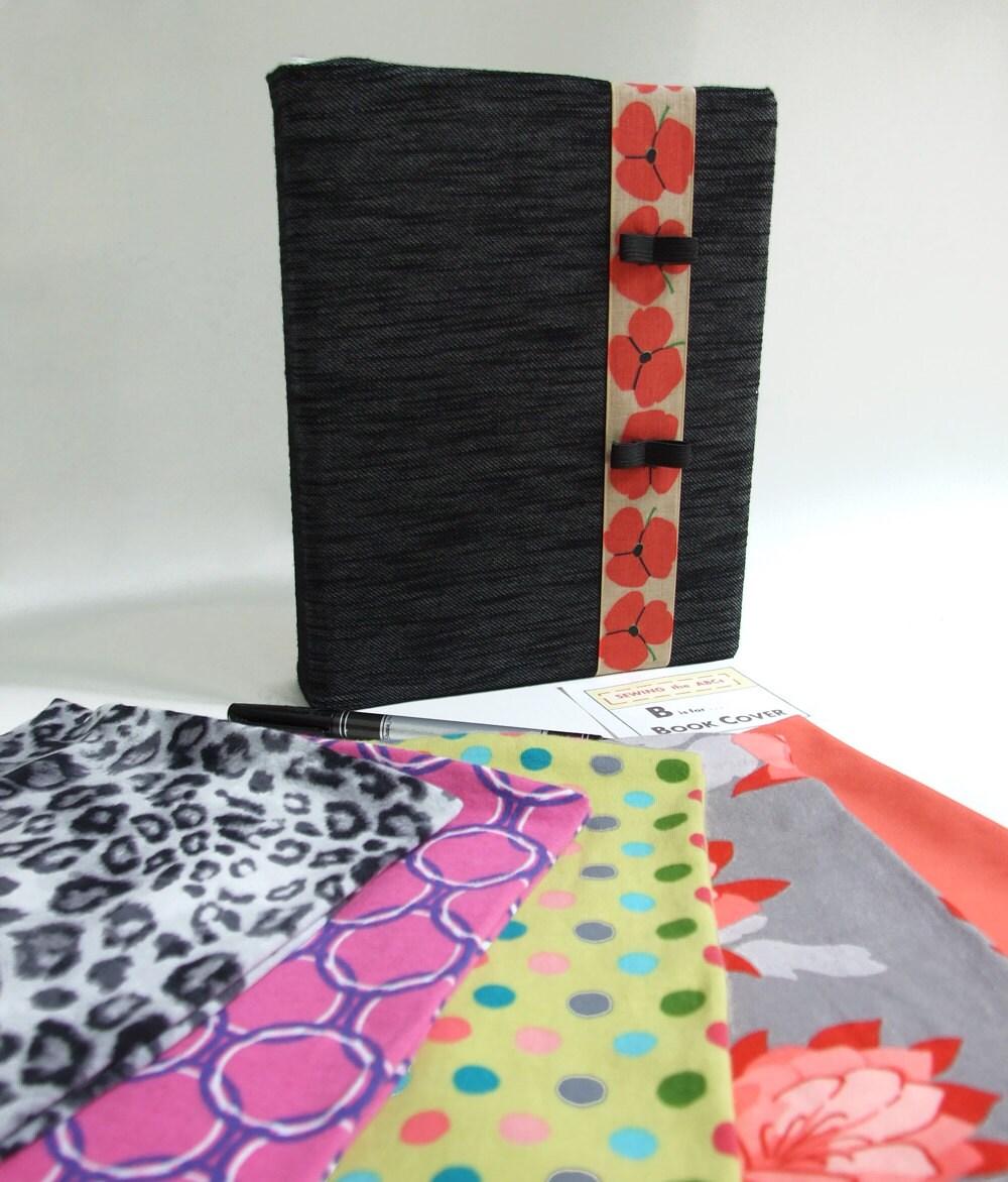 Mini Binder Cover Stretch BLACK SLUB DENIM Fabric By