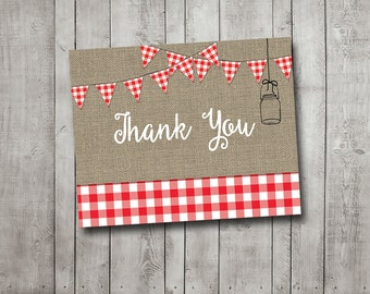 Thank You Card For I Do BBQ Barbecue Engagement Party Couples Shower Red Gingham Picnic Rustic Burlap Mason Jar Printable Instant Download