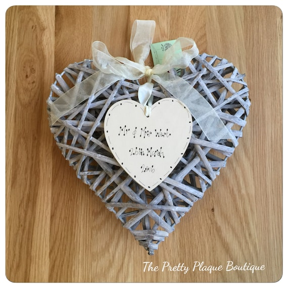 Personalised Anniversary/ Wedding/ Engagement Wooden Heart Plaque Gift ...