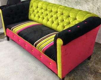 Upcycled, Upholstered, Tufted, Vintage Sofa, Pink Black Green Designers  Guild Velvet,