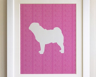 FRAMED Pug Dog Print - Pink, Birthday, New Home, Black or White frame, Fab Picture Gift