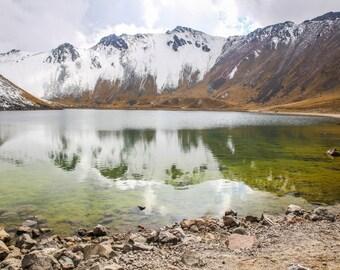 Nevado de Toluca, Landcape, Mountains, Volcano, snow, reflection, lake
