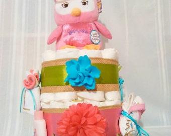 Diaper cake, girls diaper cake, owl diaper cake, owl cake,cake, centerpiece, nursery decor, baby shower gift,