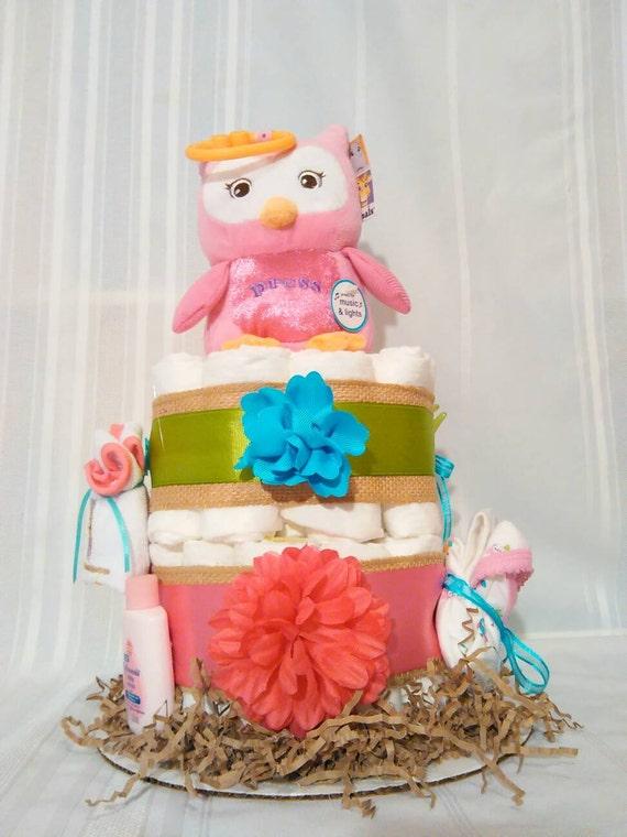 Owl Diaper Cake Decorations : Diaper cake girls diaper cake owl diaper cake owl