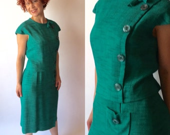 Rona Vintage Teal Linen Dress with Top Overlay