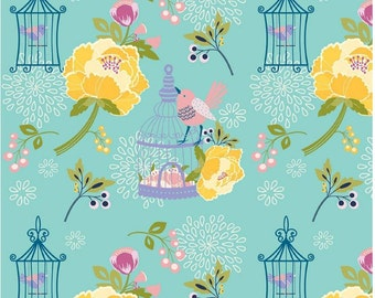 Lulabelle Fabric Mint Main Birdcage Fabric Collection By Riley Blake Designs Designer Fabric Sold By the Half Yard in One Continuous Cut