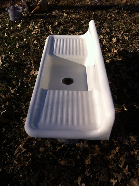 Antique Cast Iron Farmhouse Kitchen Sink Rolled By