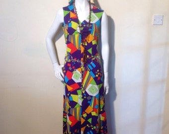 1960's/70's bright geometric print,festival/revival, peter max style,Diolen Loft, maxi dress.