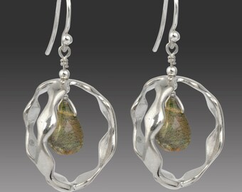 Orbit Earrings with Labradorite Sterling Silver 3D Design