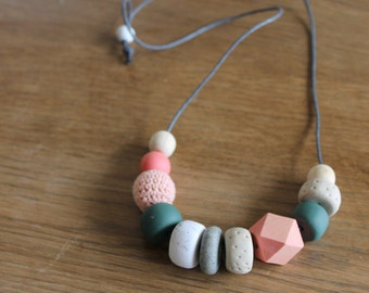 Mixed media modern minimalist necklace