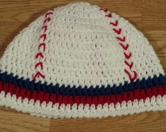 Toddler Baseball Hat, Red Baseball Beanie, Crochet Baseball Hat, Red and Blue Baseball Hat