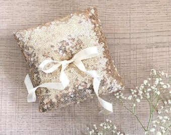 Wedding ring pillow,  ring bearer pillow,  champagne gold sequin ring pillow,  sparkly ring bearer pillow, wedding gift for her