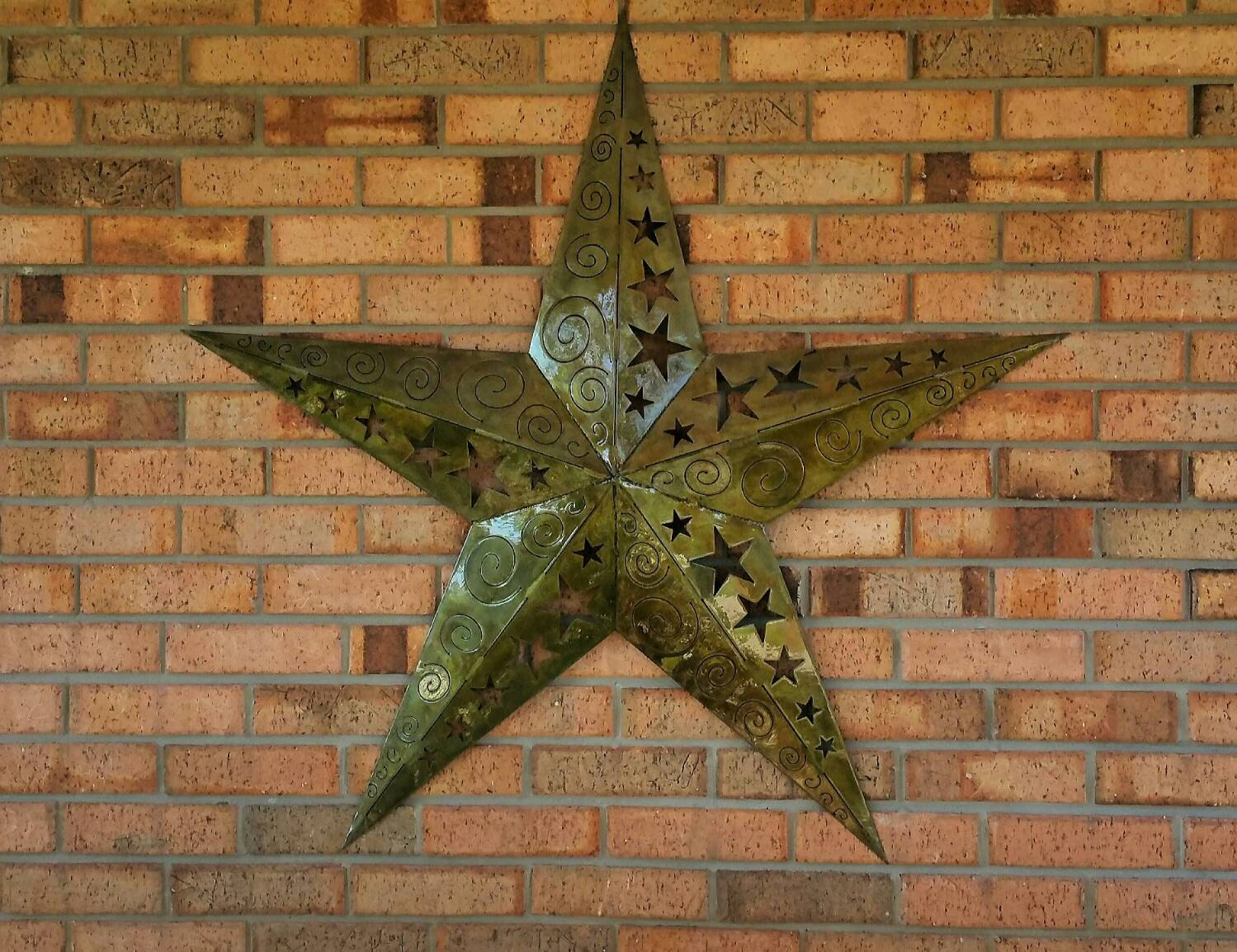 Large 3d metal star metal wall decor handmade wall decor for Outdoor garden wall decor