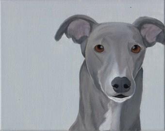 8x10 Greyhound Portrait on Canvas, multiple styles