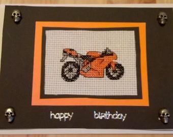 Motorbike greeting card. Orange