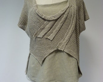 Natural linen top, L size. Handmade, feminine look.