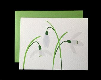 White Snowdrop - Greeting Card w/ Green Envelopes