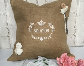 Shabby Chic  Pillow cover , Romantic Cushion, Burlap Pillow case,  gift pillow,Thrown pillow