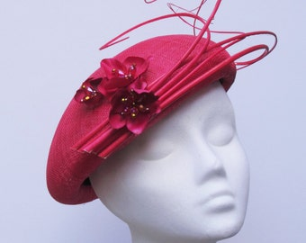 Summer beret with quill, flower and bead trim