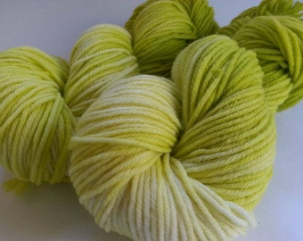 Hand Dyed Yarn, Worsted Weight, 100% Superwash Merino Wool, Lime Green