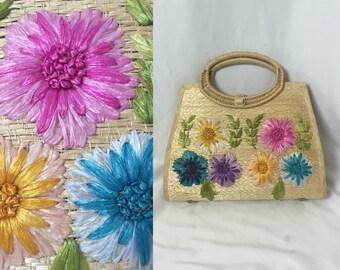 1950s DAISY straw raffia handbag ** vintage fifties Philipino handmade purse